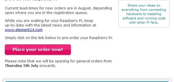 L'annonce de Farnell : le Raspberry Pi est (enfin) disponible !