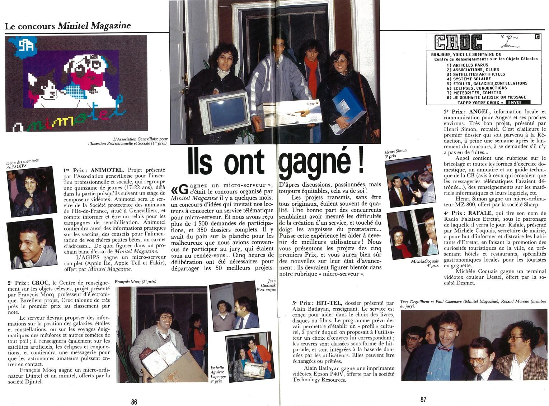 Article de Minitel Magazine - Novembre 1986