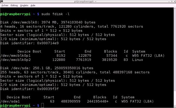 Copie d'écran : Détection du disque 250Go Freecom