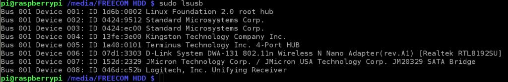 liste des périphériques USB