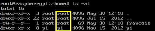 Copie d'écran Raspberri Pi - Droits Linux - File permissions