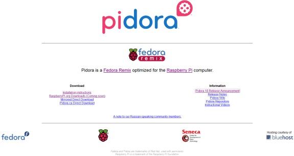 Page d'accueil de Pidora