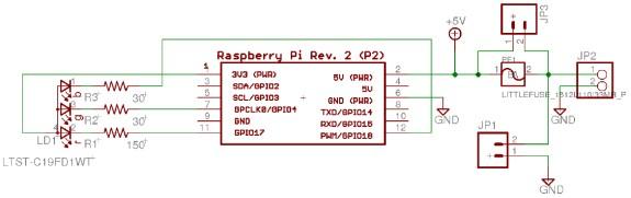 Schéma de la carte d'alimentation des Raspberry Pi