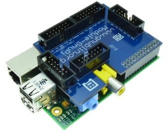 Adaptateur gnublin - Raspberry Pi : carte connectée à un Raspberry Pi