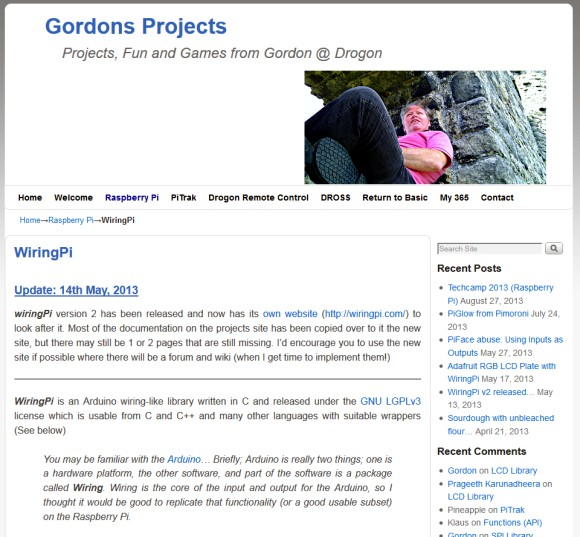 Gordons Projects, avec la version anglaise de la documentation.