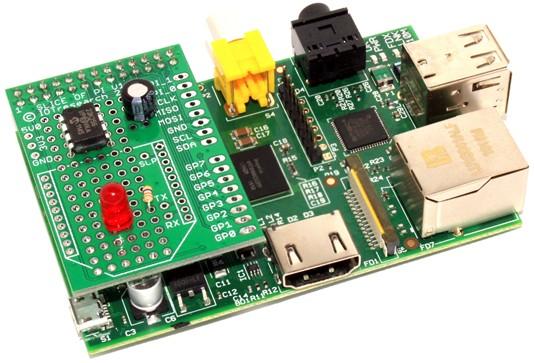 Carte slice of Pi avec des composants câblés
