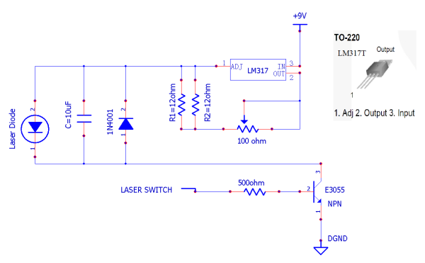 """Schéma du pilote du laser et du commutateur. Le laser fonctionne seulement lorsque le port """"Laser Switch"""" est au niveau logique haut (> 3V). Assurez-vous de ne pas vous tromper dans l'ordre des broches du LM317"""