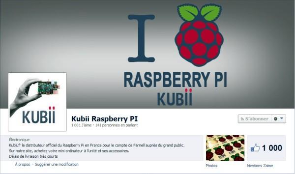 La page Facebook de Kubii ce matin, lors du passage à 1000 fans