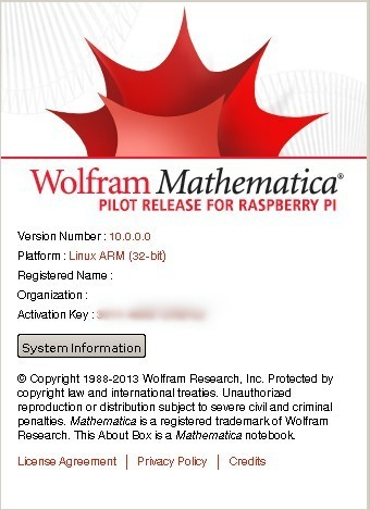 Ecran : about Mathematica