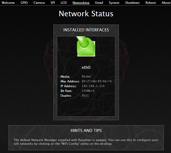 BerryIO - Etat du réseau du Raspberry Pi