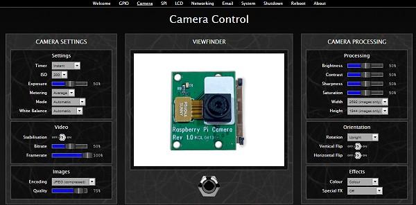 BerryIO - Réglages du module caméra du Raspberry Pi