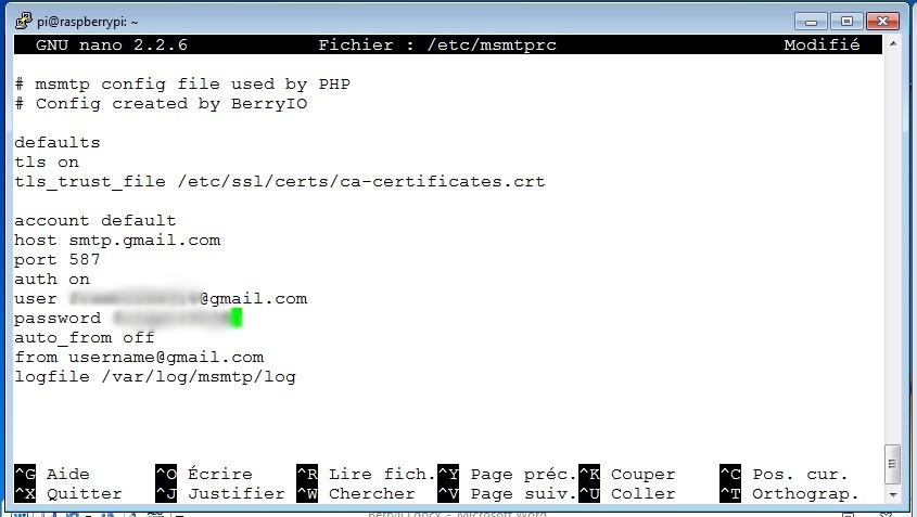 BerryIO - Configuration de msmtprc pour l'envoi des mails