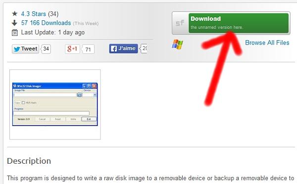Cliquez sur le bouton Download pour télécharger Win32DiskImager