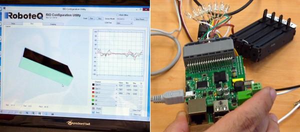Roboteq présentait une carte industrielle pour le Raspberry Pi, équipée d'accéléromètres permettant de piloter un objet sur l'écran en bougeant l'ensemble Raspberry Pi