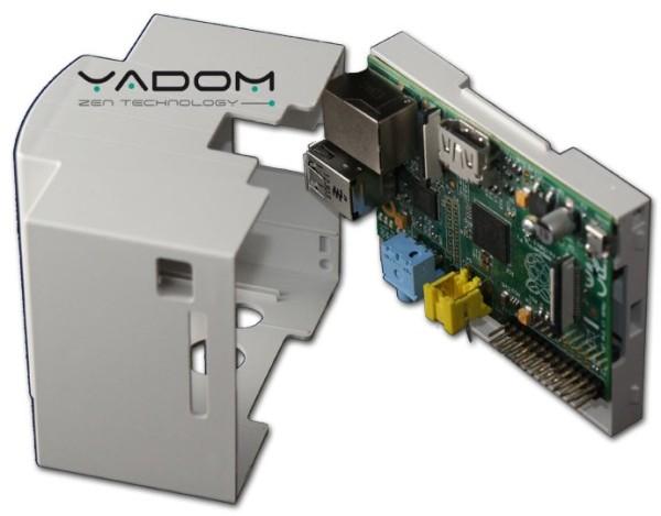 Boîtier DIN Yadom avec afficheur OLED et clavier - Boîtier et carte support du Raspberry Pi