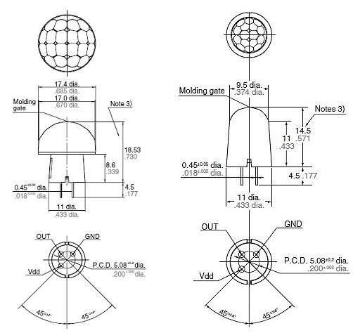 Dimensions des capteurs (à gauche 10m, à droite 5m)
