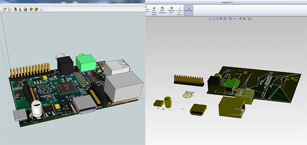 Raspberry Pi sur GrabCAD - Modèle 3D en cours de réalisation