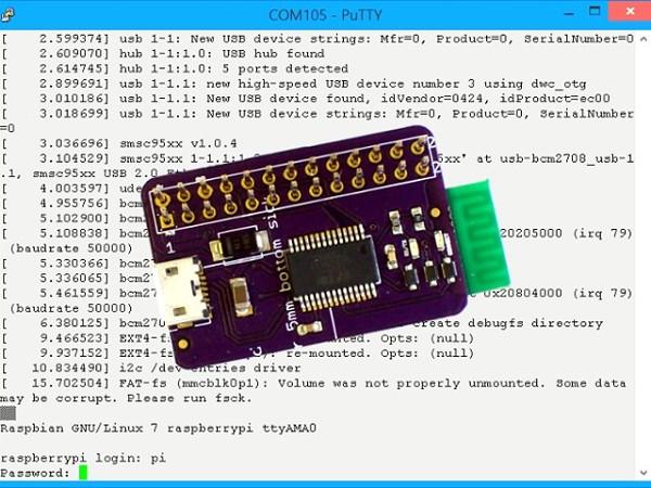 La carte PiConsole en place sur un Raspberry Pi