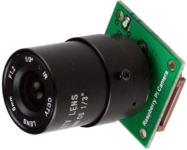 Caméra compatible avec celle du Raspberry Pi, mais équipée d'un objectif CS. Avouez que ça a une fière allure !