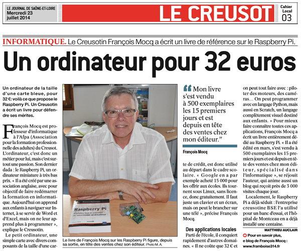 Raspberry Pi dans le Journal de Saône et Loire JSL