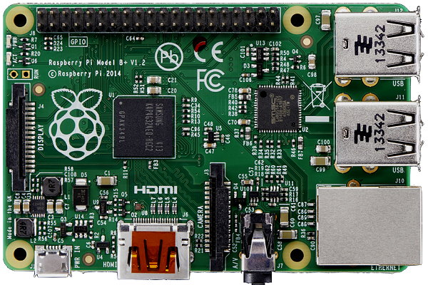 Raspberry Pi Model B+  : Vue de dessus