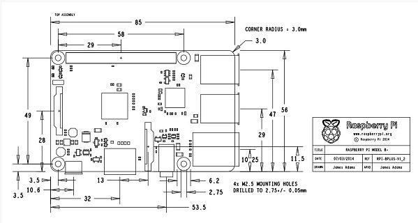 Schéma mécanique du Raspberry Pi Model B+ - Cliquez pour agrandir
