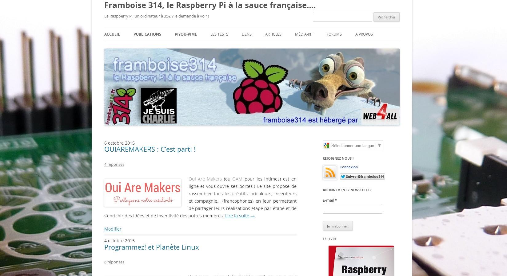 Copie d'écran framboise314.fr - 8 octobre 2015