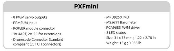 PXFmini_caracteristiques