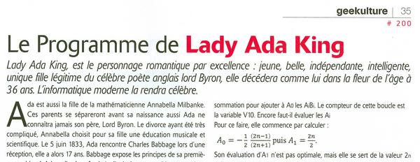 Le programme de Lady ADA développeuse avant l'heure