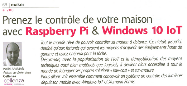 Solution domotique avec Raspberry Pi et Windows10 IoT