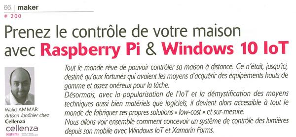Solution domotique avec Raspberry Pi et Windows10 IoT