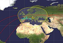 Image extraite de Gpredict : un passage de l'ISS visible de la France. La station est située à Le Creusot (71)