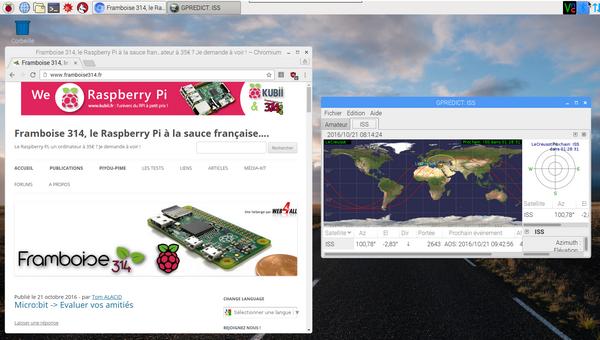 bureau de Raspbian PIXEL avec un navigateur chrome et une fenêtre Gpredict