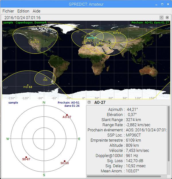 Ecran par défaut de Gpredict. On voit dans la partie haute de la fenêtre une carte du monde sur laquelle sont affichés les satellites et leur zone de visibilité. En bas un radar (c'est le ciel que voit l'observateur) sur lequel les satellites sont positionnés et en bas à droite les informations concernant AO-27