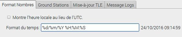 Configuration de l'heure de Gpredict. Le format choisi %d%m%Y permet d'afficher l'heure à la français : JJMMAAAA