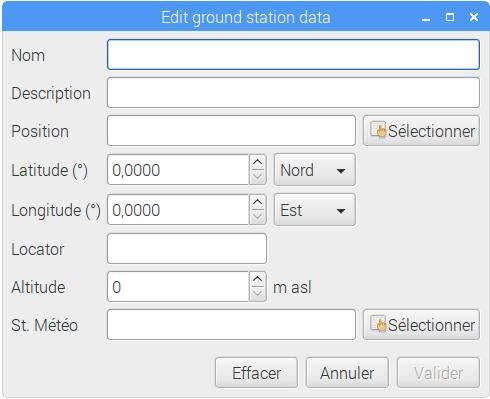 Fenêtre d'édition de la position de l'observateur. Après avoir nommé le lieu, il faudra saisir ses coordonnées latitude et longitude, altitude et station météo la plus proche à choisir dans une liste.