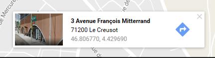 Exemple de fenêtre obtenue sur Google Map indiquant les coordonnées géographiques (latitude et longitude) d'un lieu.