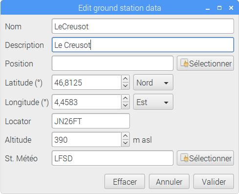 Fenêtre d'édition des données concernant la station de réception renseignée pour Le Creusot