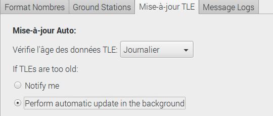 Fenêtre de configuration de mise à jour des paramètres TLE