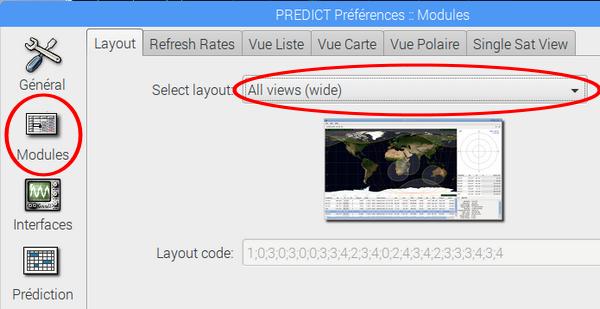 Choix de la configuration de l'écran qui sera afiiché par Gpredict.