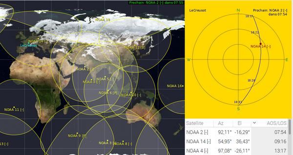 Exemple de vue poliare avec les satellites NOAA. Un passage de satellite est affiché dans la vue polaire