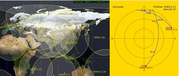 Exemple de vue poliare avec les satellites NOAA. Deux passages de satellites sont affichés dans la vue polaire
