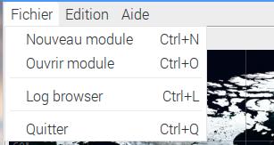 Menu Fichier de Gpredict. Le menu affiche Nouveau module, Ouvrir module, Log Browser et Quitter