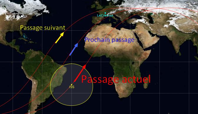 Carte montrant 3 passages de l'ISS, l'actuel et les deux prochains.