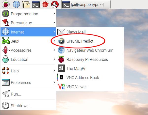 Menu de Raspbian Jessie - Catégorie Internet - Gnome Predict