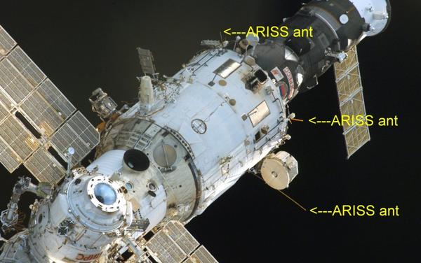 Vue du laboratoire européen Colombus avec indication des antennes ARISS