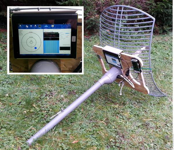 Parabole pour orientation manuelle. Un écran indique la direction dans laquelle se trouve l'ISS