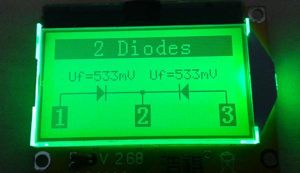 testeur_composants_-lcr-t3 photo de l'appareil montrant le résultat d'une double diode