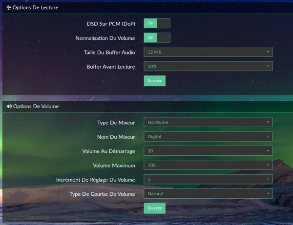 Options de lecture DAC suite