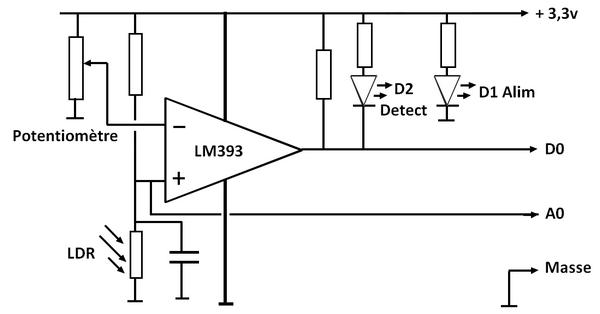 Shéma du module détecteur de lumière à LDR